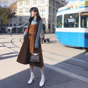 「卢洁云」CARIEDO2017冬季新款减龄气质高腰A字裙背心韩版连衣裙