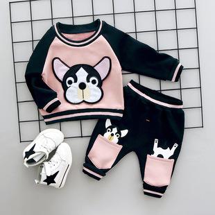2017秋冬季新品男童加厚加绒斑点狗两件套装 厂家直销代销