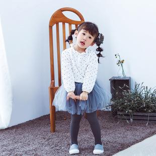 2017春季新款韩版儿童女衬衫可爱波点棉衬衣女童长袖衬衫一件代发