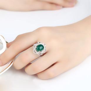 халцедон кольцо открытие украшения кольцо серебра 925 зеленый изумруд личности женщин агат кристалл кольцо с ретро
