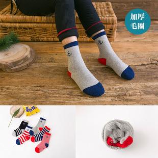 秋冬季加厚儿童袜 条纹毛圈袜学生中筒棉袜 卡通图案宝宝袜子批发