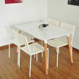 伊姆斯圆桌餐桌椅组合小户型现代简约创意饭桌实木餐桌洽谈桌