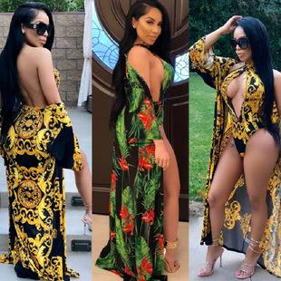 跨境货源速卖通亚马逊 时尚性感春夏款印花披风+比基尼泳装两件
