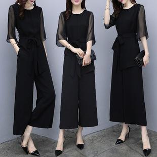 2018新款女装夏名媛气质洋气两件套雪纺上衣高腰阔腿裤时尚套装女