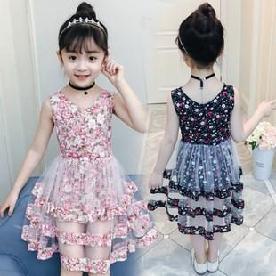外贸童装2018新款儿童表演裙背心裙甜美可爱碎花荷叶边女童连衣裙