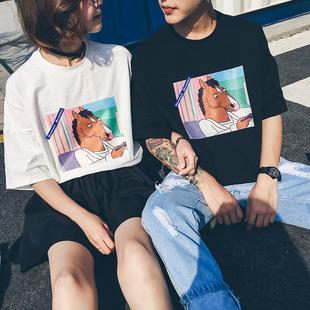 实拍2018夏季情侣装圆领短袖马头贴布宽松大码女个性男T恤原宿风