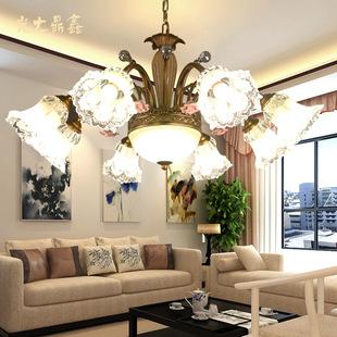 欧式客厅灯锌合金水晶吊灯 美式LED后现代大气酒店别墅工程灯具