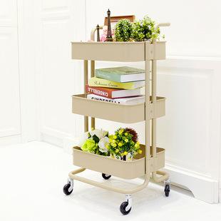 置物架移动小推车厨房储物架客厅收纳架家居书架拉斯克手推车