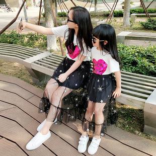 母女装2018新款亲子装夏装短袖t恤纯棉打底衫爱心变色时尚上衣