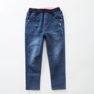 18年春季新款儿童宝宝长裤中小童牛仔裤韩版潮范儿修身纯色直销