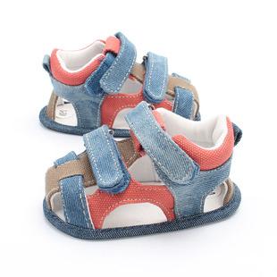 2018夏季新款宝宝凉鞋软底防滑婴儿鞋牛仔纯棉夏款学步鞋