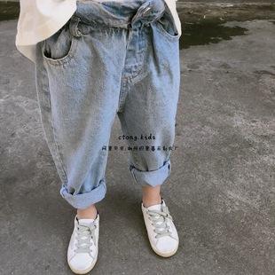 2018 春 中小童 男女童 花苞  复古 浅色 牛仔裤
