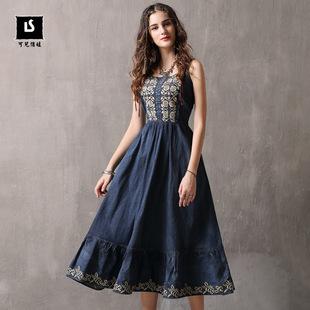 可儿品牌女装2018夏装新品刺绣牛仔裙 收腰吊带大摆连衣裙A82099