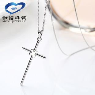 默语925纯银项链十字架文艺首饰饰品流行女项饰原创毛衣链可代发