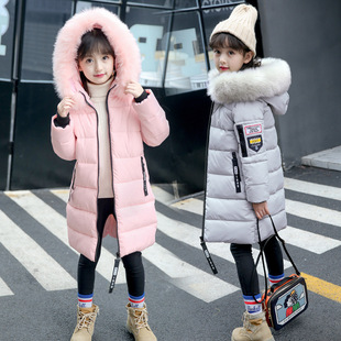 儿童棉衣外套2017新款童装女童冬装棉袄中长加厚毛领棉衣一件代发