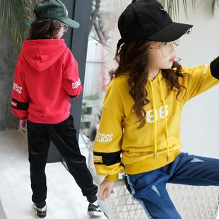 2018春季新款儿童韩版上衣女孩中大童装女童连帽套头卫衣批发潮