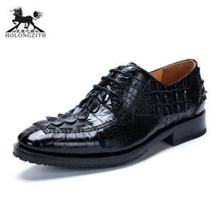 虎狼之狮定制高档鳄鱼皮男鞋系带时尚商务休闲鞋纯手工固特异皮鞋
